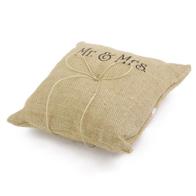 Mr U0026 Mrs Burlap Jute Bow Twine Wedding Ring Pillow Beach Themed Pillows  Wedding Supplies Wedding