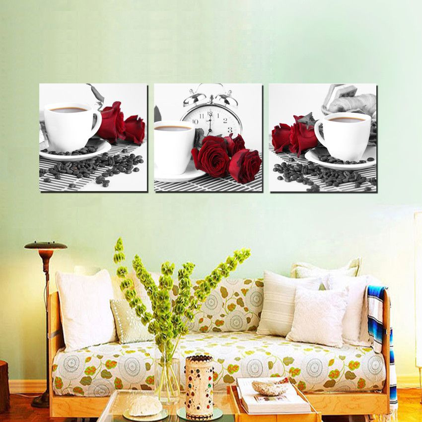 Home decoration 3 pieces no frame picture canvas prints for House decoration pieces