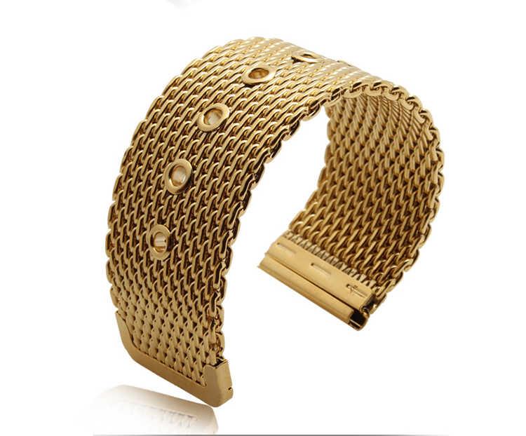 נירוסטה חגורת רשת שעון רצועת אביזרי עבור קרטייה dw tissot אומגה Longines גברים נשים שעון להקות