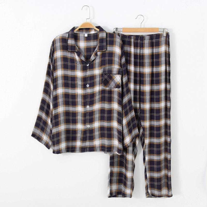 Sleepwear Men Pajama-Sets Suit Men's Plaid Trousers Yarn Dyed-Rayon Comfortable