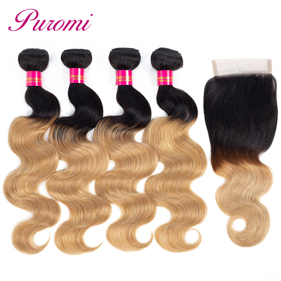 Puromi Hair 4 Bundles with Closure Ombre Blonde 1b 27 Body Wave Honey Blonde Bundles with Closure Non Remy Cambodian Hair