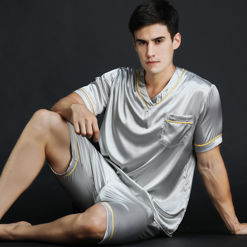 New Spring Summer Men Silk Satin Pyjamas Set Men Short-Sleeve Pajama Set Male Sexy Sleepwear Leisure Home Clothing Plus Size