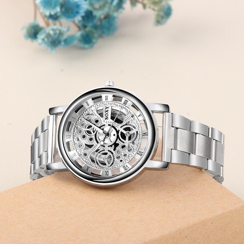 все цены на Top Brand Luxury Skeleton Watch Stainless Steel Men's Watch Men Watch Silver Watches Clock relogio masculino erkek kol saati онлайн