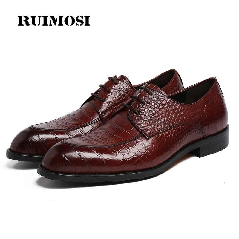 RUIMOSI Round Toe Derby Formal Man Dress Flats Shoes Genuine Leather Crocodile Oxfords Luxury Brand Men's Bridal Footwear PF78