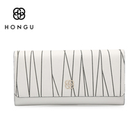 HONGU Genuine Leather White Printing Wallet Long Folding Small Fresh Female Purse Multi Card Wallet D