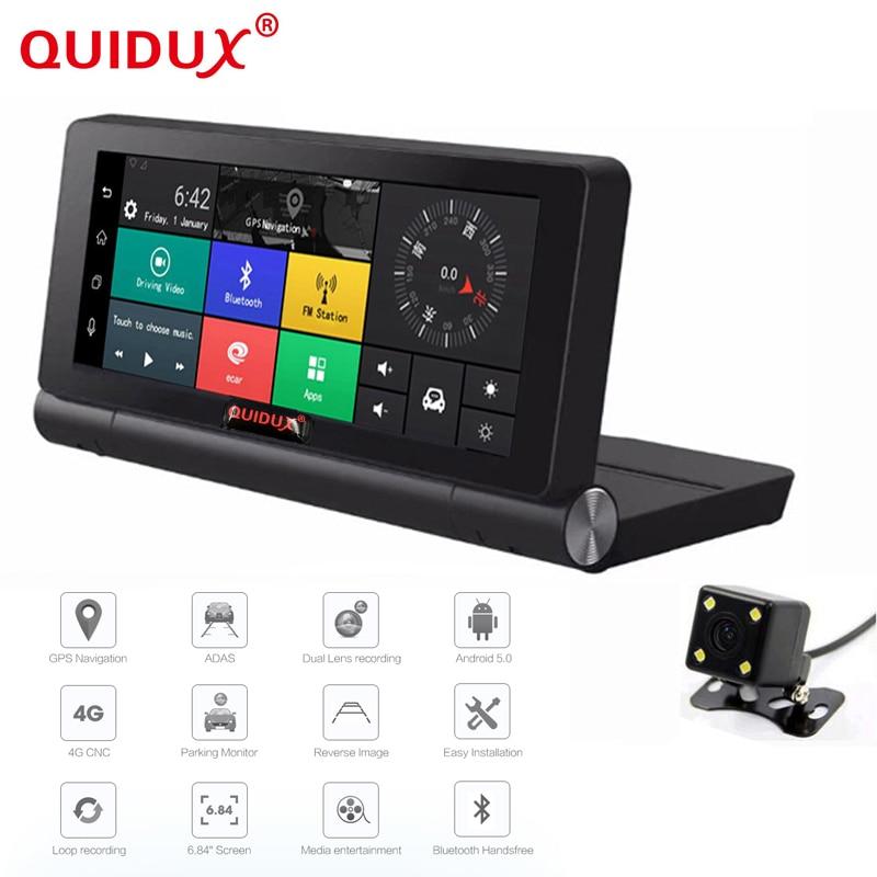 QUIDUX New 4G Car DVR GPS Navigator Camera 7 inch Android 5.1 Bluetooth Full HD 1080P Video Recorder Camera Registrar 16GB ROM