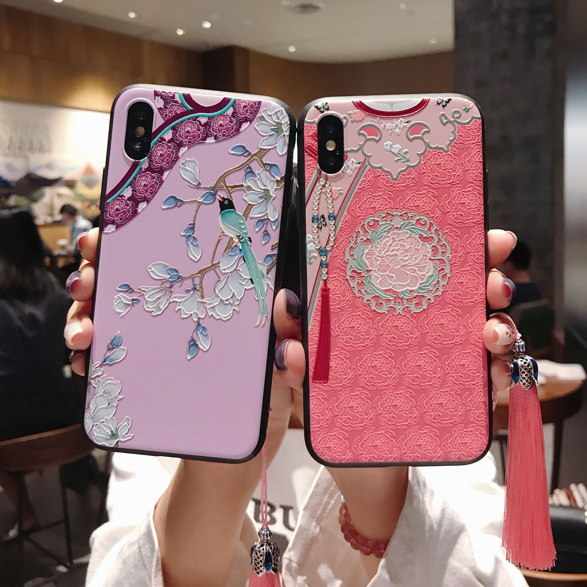 Chinese Style Embossed Tassel Phone Case for iPhone 11 Pro Max XS MAX XR Soft Back Cover for iPhone X 8 7 6S 6 Plus Coque image