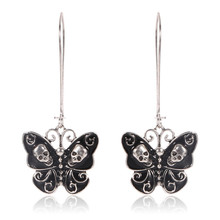 Punk Style Big Butterfly Skull Dangle Earrings For Women Girls Vintage Party Ear Jewelry Long Alloy Earrings 1 Pair