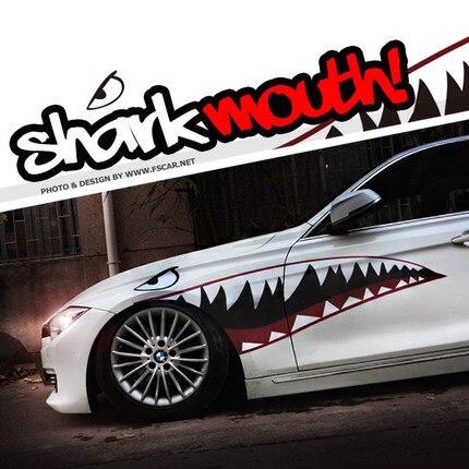 Noizzy 1 paire autocollants voiture bouche de requin décalcomanies latérales Auto vinyle SUV Tuning Crossovers accessoires camion berlines Bodykit voiture