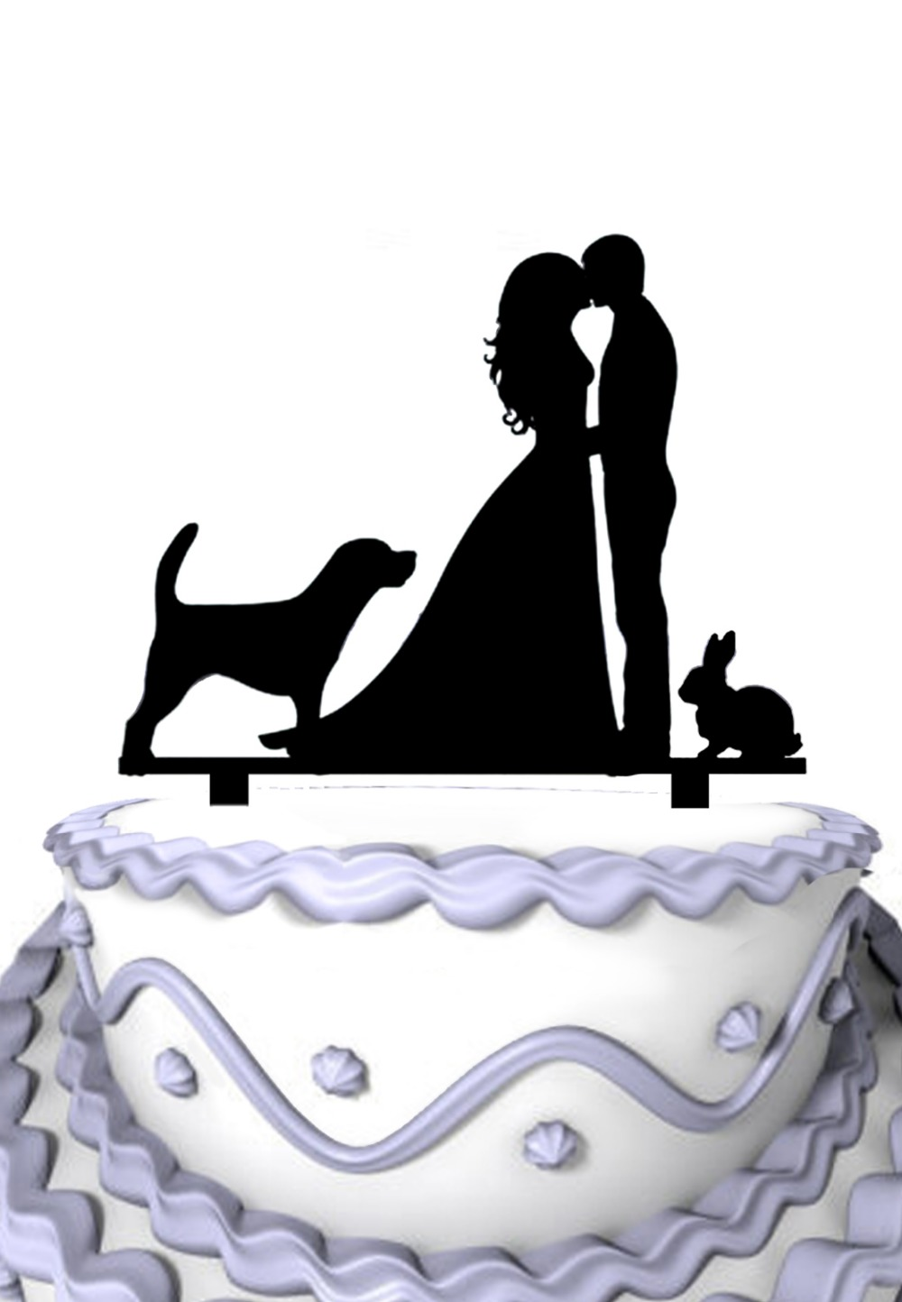 Groom and Bride with Dog & Rabbit Pets Silhouette Acrylic Wedding ...