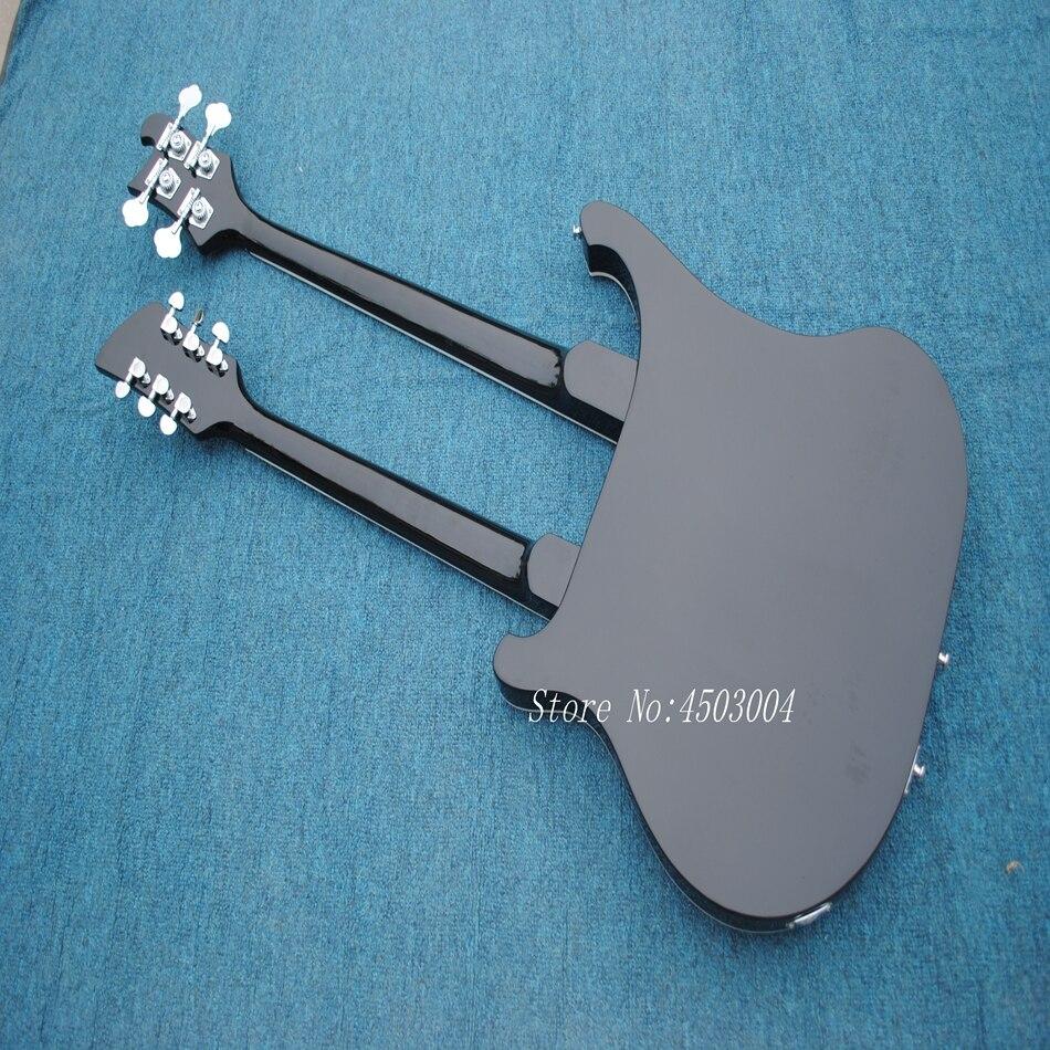 Offre spéciale Top qualité nouveauté RICK Double cou 4 cordes basse + 6 cordes guitare électrique noire livraison gratuite - 4