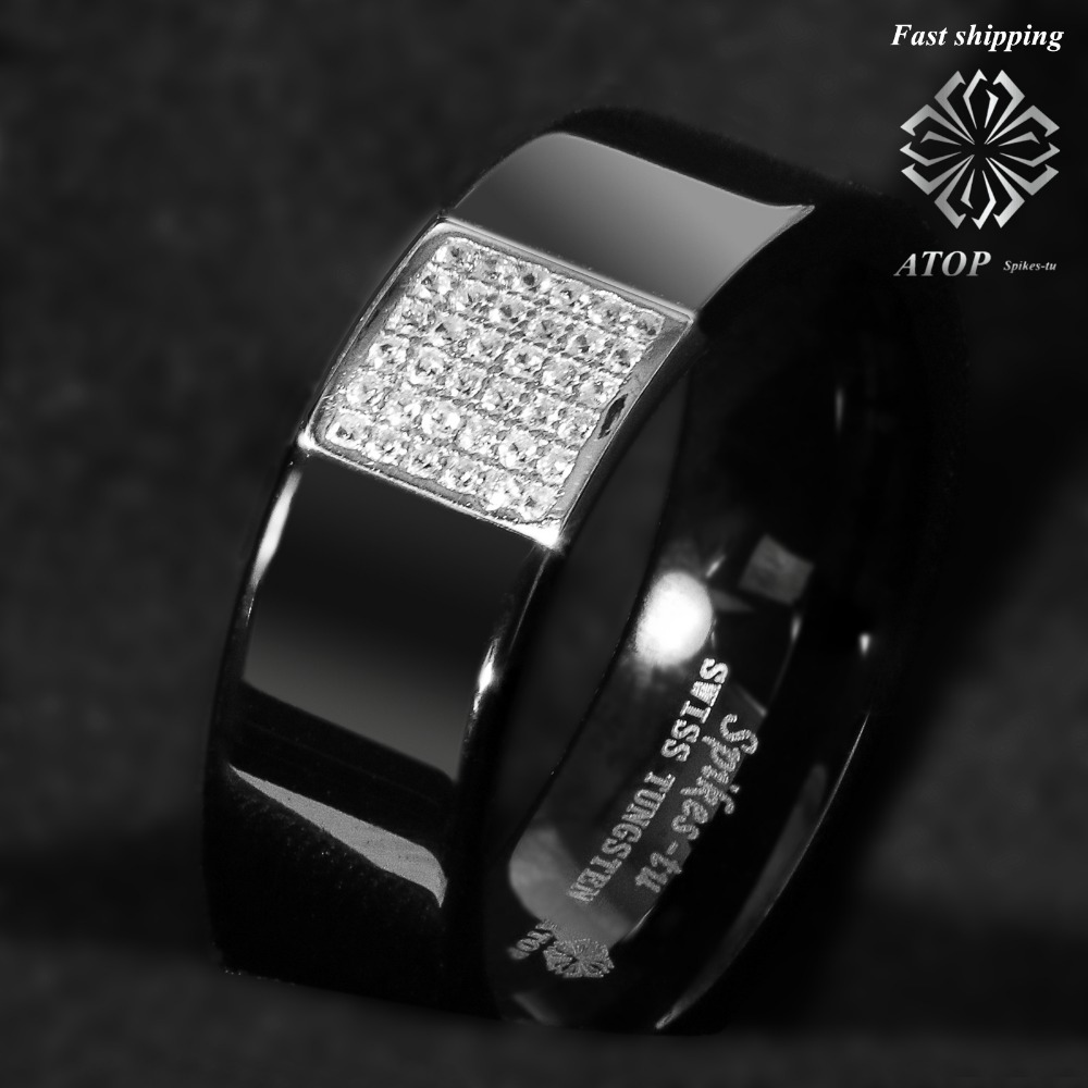 8mm black tungsten ring 925 silver inlay 36 diamonds atop. Black Bedroom Furniture Sets. Home Design Ideas