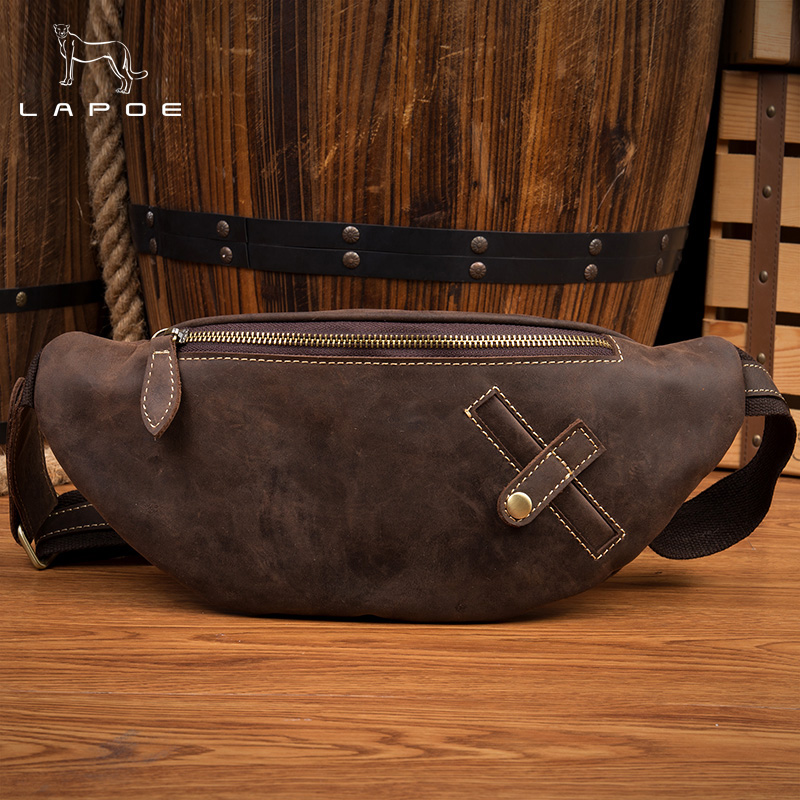 LAPOE The new crazy horse waist pockets handmade retro men bag first layer of leather shoulder bag men leather waist bag men s leather oblique cross chest packs of the first layer of leather deer pattern men s shoulder bag korean fashion men s bag