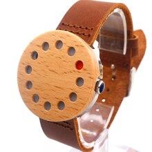 Bobobird 12 отверстия Дизайн Дерева Часы Прохладный Повседневная Кварцевые Часы для Мужчин и для Женщин С Натуральной Кожи Ремни, как Рождественские Подарки C10