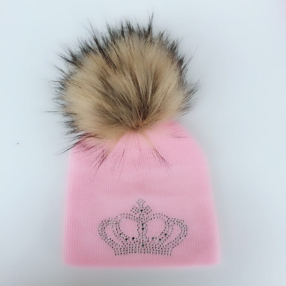 diamond embroidery baby knitted winter hat cap girl boy kids cotton mink faux fur pompom children crown beanies casual skullies