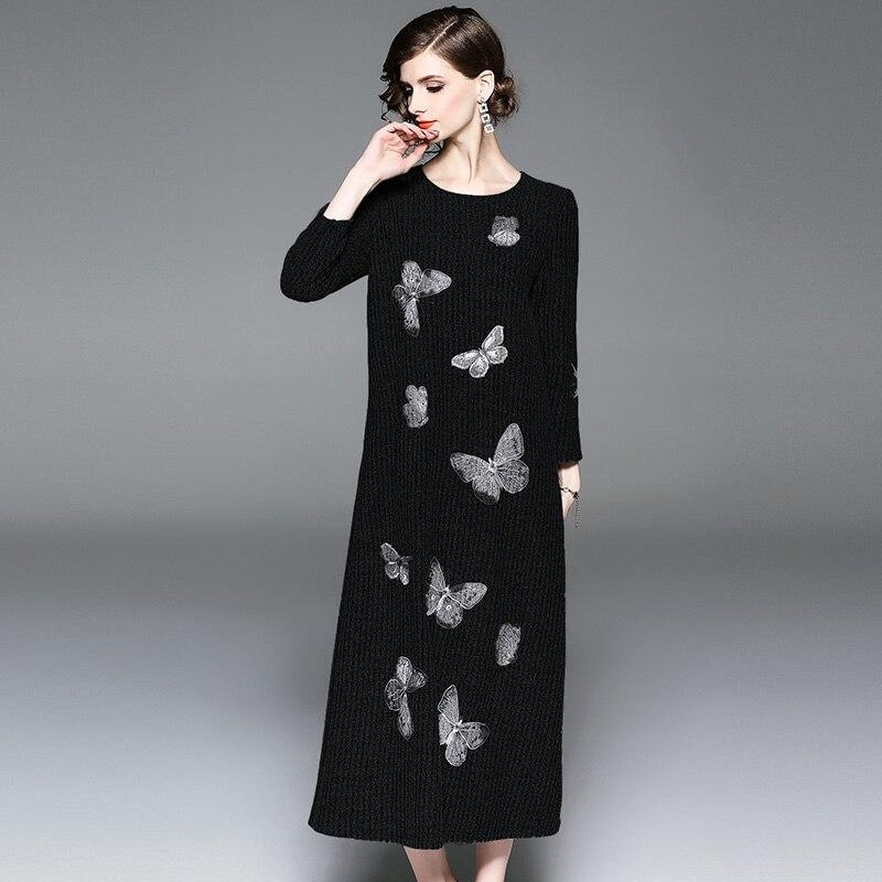 Kintting Robes Femmes Manches neck Glissière O De vert Élégant Hiver Broderie Mode Fermetures Femelle Plein Chaud Robe Noir 2018 À dFZxEwA