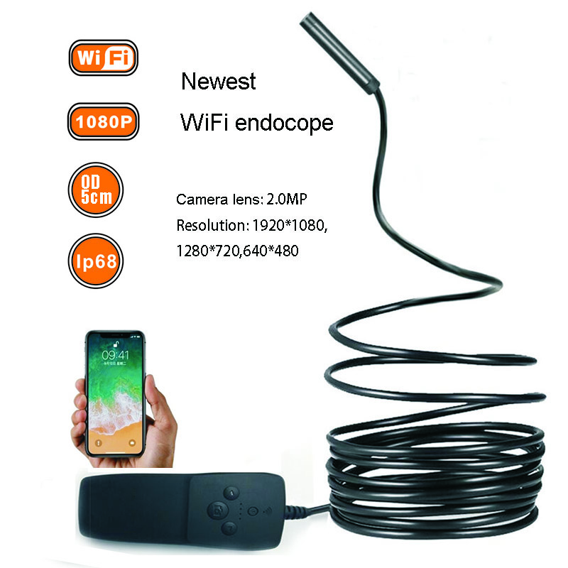 LETIKE WIFI Endoscope Mini Camera HD 1080P IP68 Semi Rigid Tube Endoscope Wireless Borescope Video Inspection for Android iOS