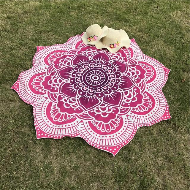 Glorious Lotus Flower Shape Indian Mandala Tapestry Wall Hanging