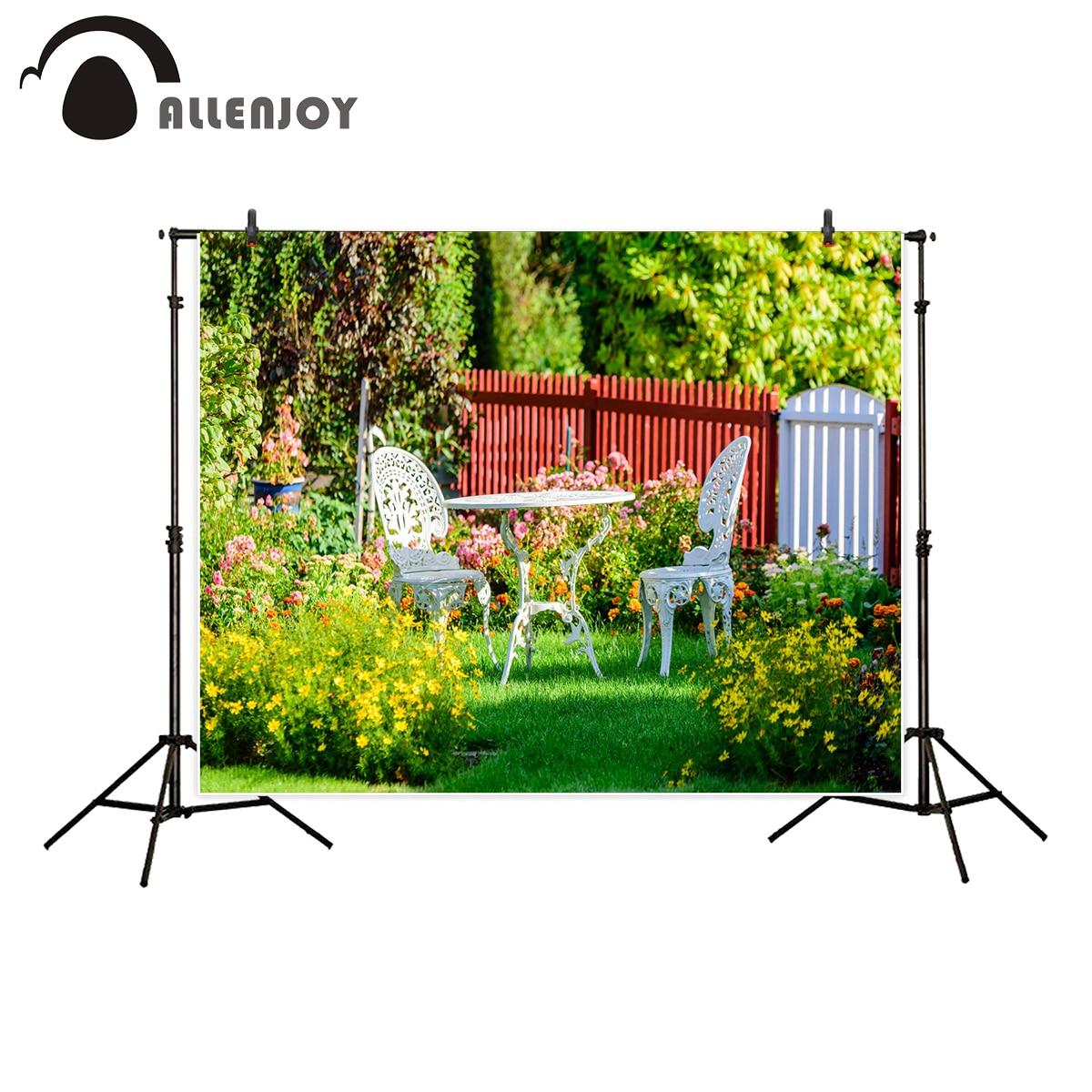 Allenjoy Фон фотографии белая садовая мебель цветы газон штакетник фон фотостудия Новая камера fotografica