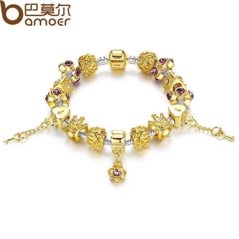 b69c9e885 WOSTU New Arrival Luxury Gold Color Charm bracelet for Women Chain Beads  Fashion DIY Jewelry Fit Bracelets Pulseira Gfit XCH1428