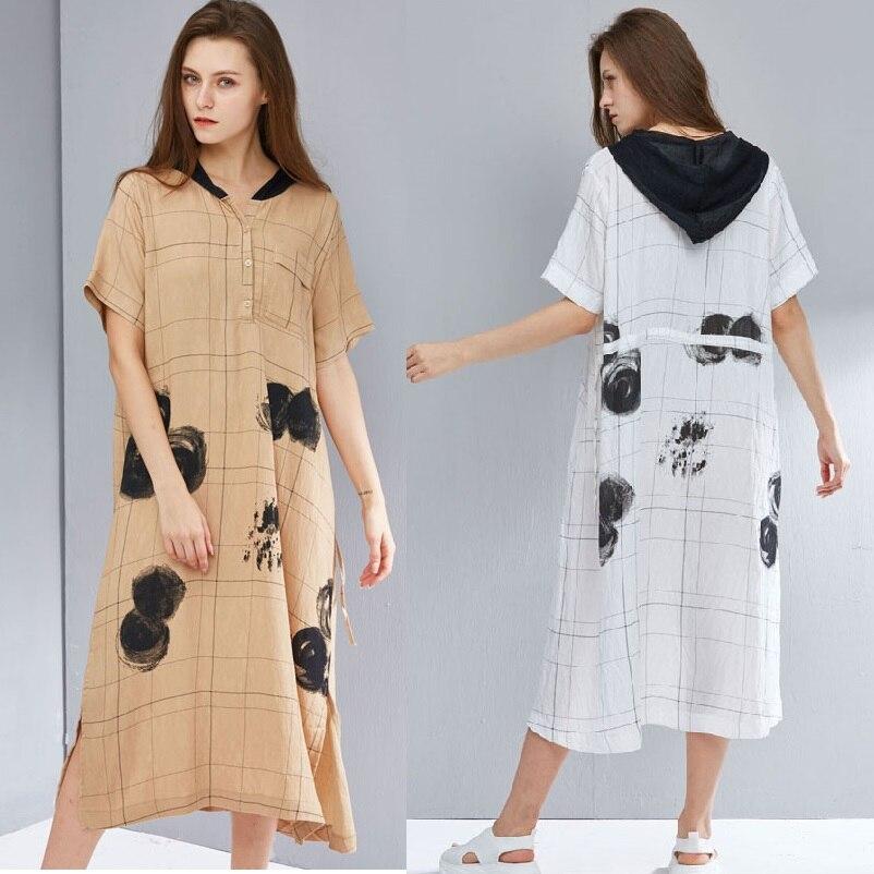 2019 été mode à capuche longue chemise robe junior split fin décontracté plaid longue robe lâche grande taille rue porter longos vestidos