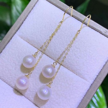 shilovem 18k yellow gold Natural freshwater pearls Drop Earrings fine Jewelry women trendy anniversary  gift myme7-7.5z 5