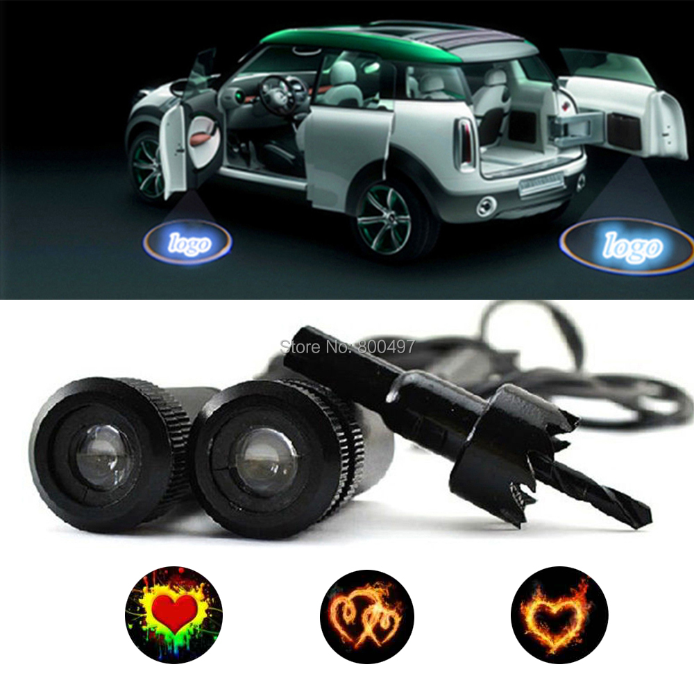 2 x Universal 5W High Power Car LED Laser Logo Lights Door Welcome Ghost Shadow Projector Door Courtesy Lights for Hearts Series