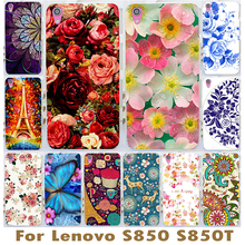Beautiful Flower Design Painted Hard Black Cover Cases Fit For Lenovo s850 s850t Rose Peony Flowers Background phone case cover