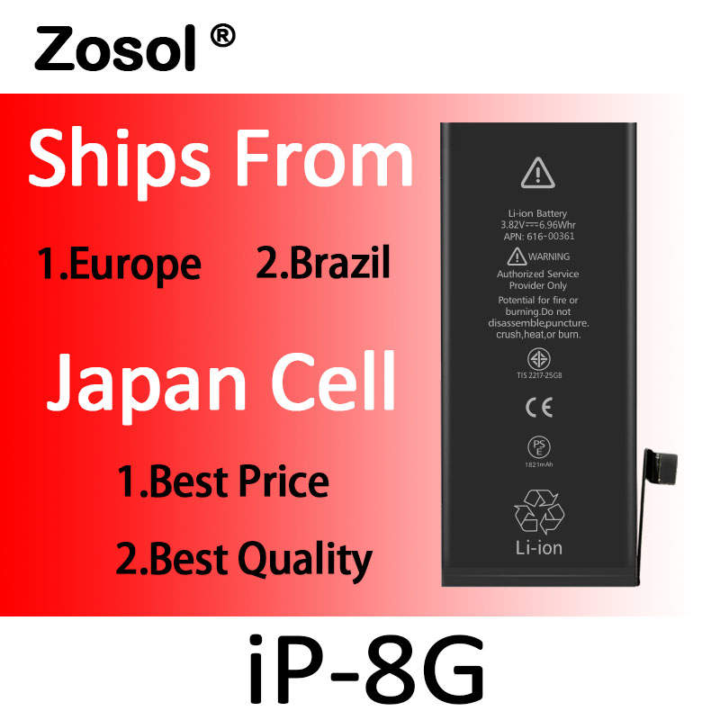 10pcs lot Zosol Best Quality 0 Zero Cycled AAA Battery for iPhone 8 8G 1821mAh 3