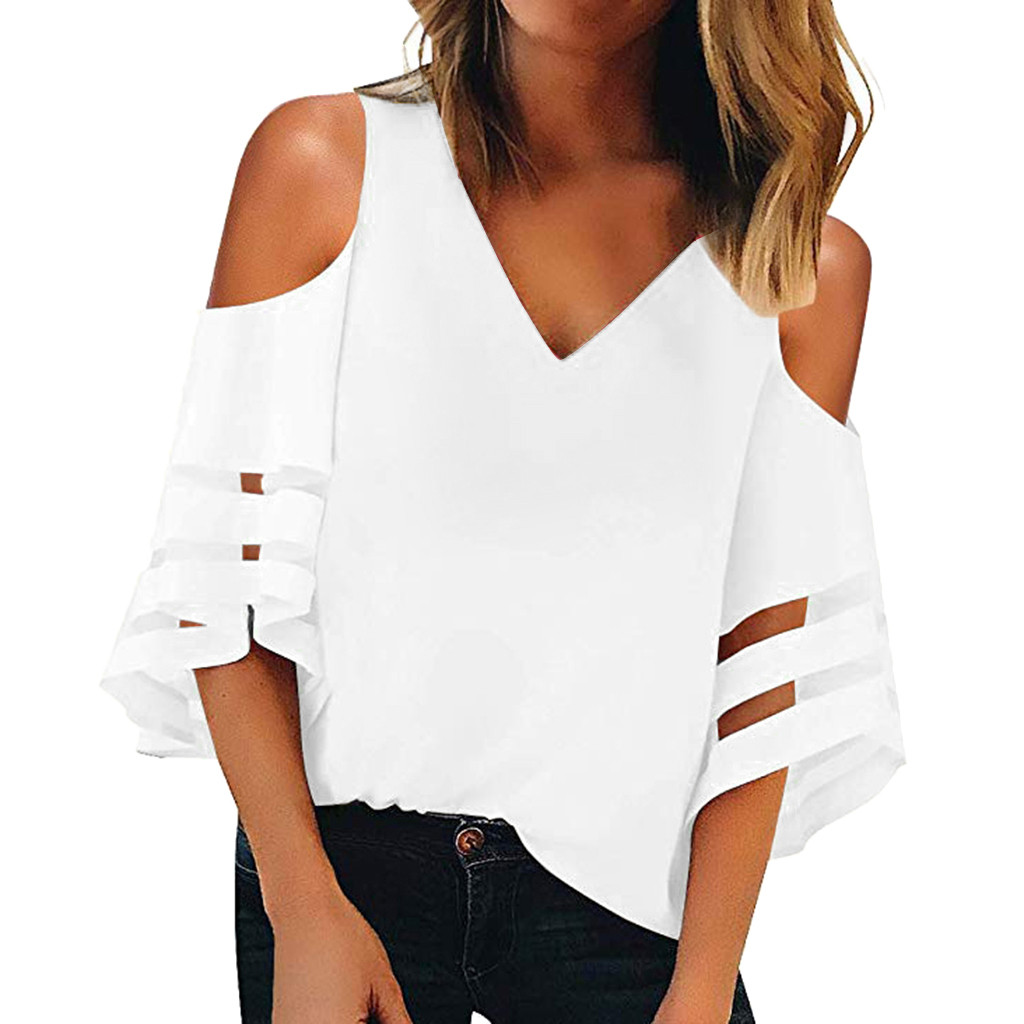 Women's Solid Off Shoulder Tops And   Blouses   Hollow Sleeve Mesh Panel   Blouse   Casual V-Neck Tunic   Shirt   Рубашка Женская #30