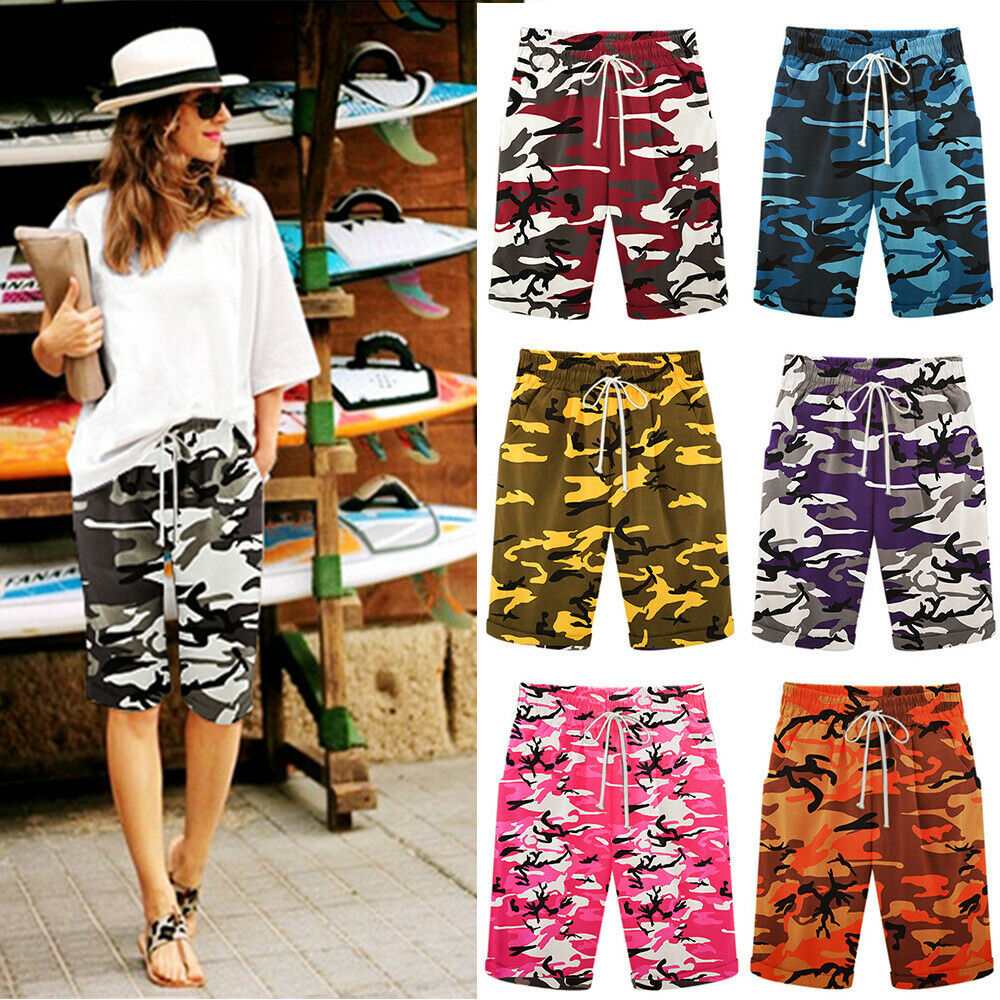 Hirigin Brand Hot Sale Womens Loose Camo Shorts Trousers Beach Drawstring Waist Hot Shorts Plus Size 7 Military Color