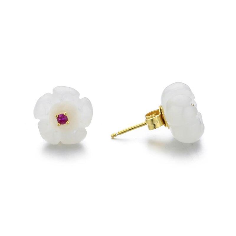 Boucles d'oreilles RADHORSE véritable 925 argent Sterling Hetian jade fleurs boucles d'oreilles pour femmes belle et classique Style bijoux fins