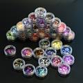 Nuevo 35 botellas de Color Mixto 1mm-3mm Conjuntos de Arte de Uñas 3d DIY Ultrafino Diseño Glitter Lentejuelas Redondas Nail Art Pegatina P01-35 Paillett