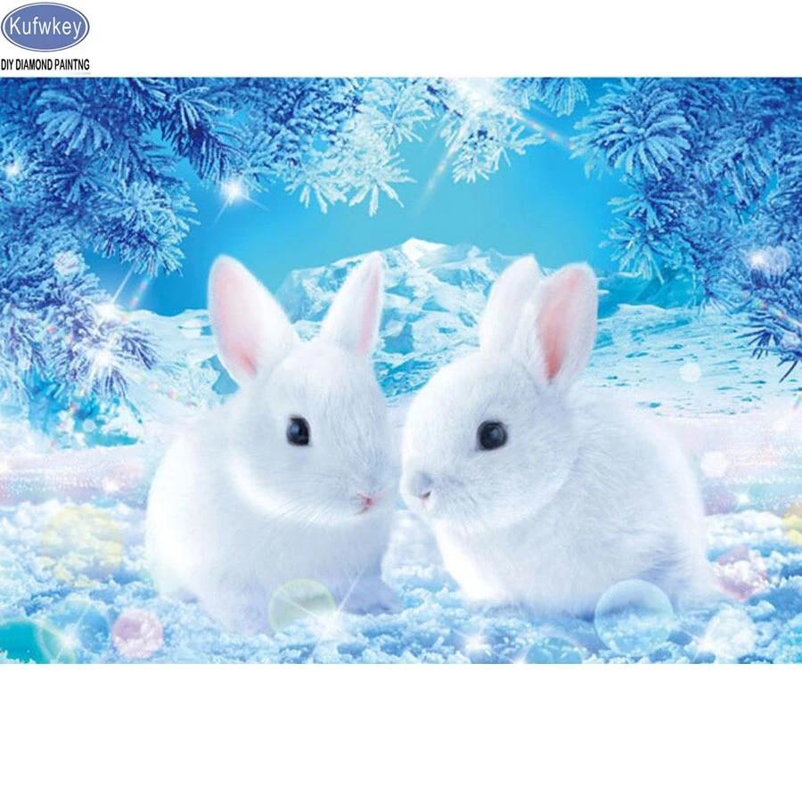5D Diamond Painting Kits Grey Rabbit Snow Cross Stitch Embroidery Home Decor
