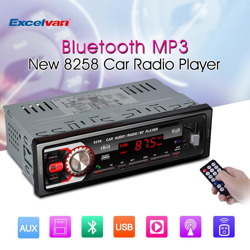 imágenes para 8258 Coche Radio Del 1 Din manos libres bluetooth LED 7377IC FM/SD/MMC/USB/AUX Entrada de Receptor de Medios de Radio Auto Audio Estéreo Reproductor de MP3