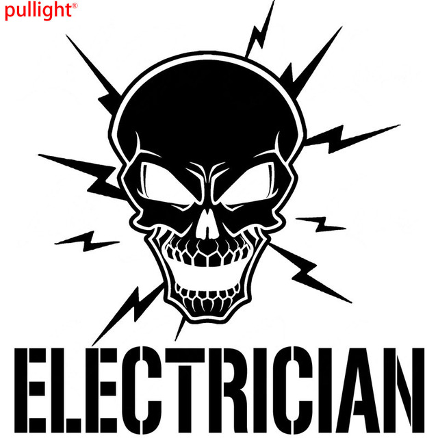 Skull and lightning bolts electrician vinyl electric sticker car accessories car sticker motorcycle suvs bumper car