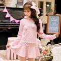 Candy rain Princess sweet lolita pink Skirt flounce Love shape decoration lace A-line Sweet style Japanese design