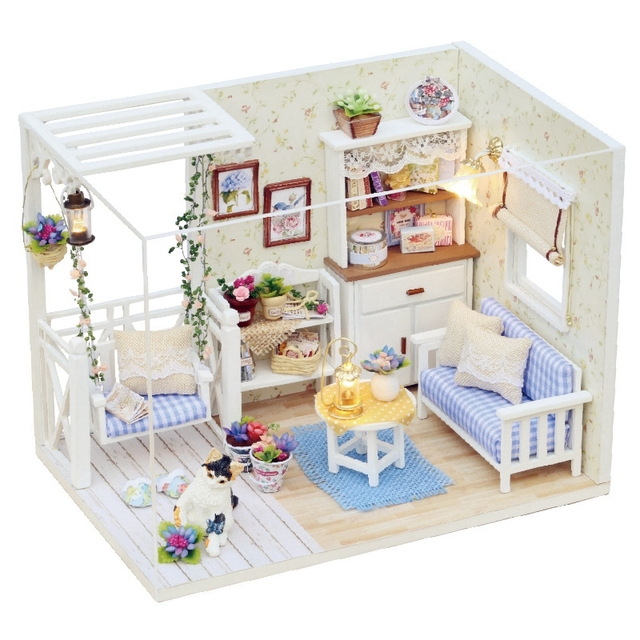 18 Doll Sofa Diy Pottery Barn Slipcovered Knockoff 3d Wooden Handmade House Living Room With Swing Furniture Kit Toys Miniature Model Dollhouse For Kids Gift