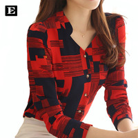 New 2017 Women S Fashion Plaid Shirts With Long Sleeve V Collar Blouses Women Cotton Plus