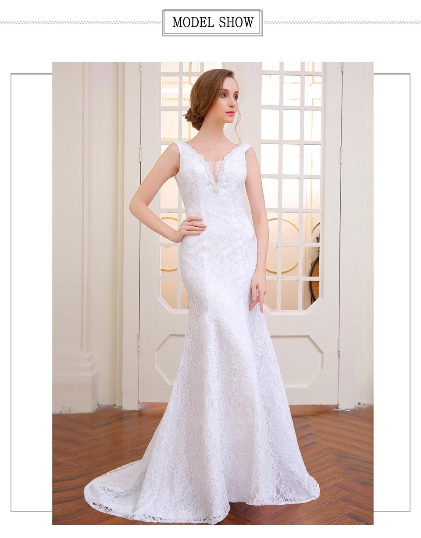 V-Neck Lace Appliques Backless Mermaid Wedding Dress 1