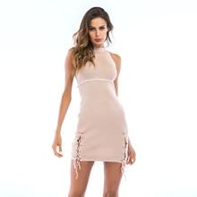 VZFF Women Summer Hanging Neck Cross Tie High Waist Dress New 2019 Bag Hip Party Sexy Ladies