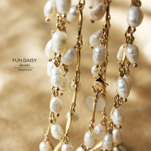 European & American exaggerated brand fashion jewelry natural pearl Long Necklace sweater chain wholesale droplet Teardrop Pearl