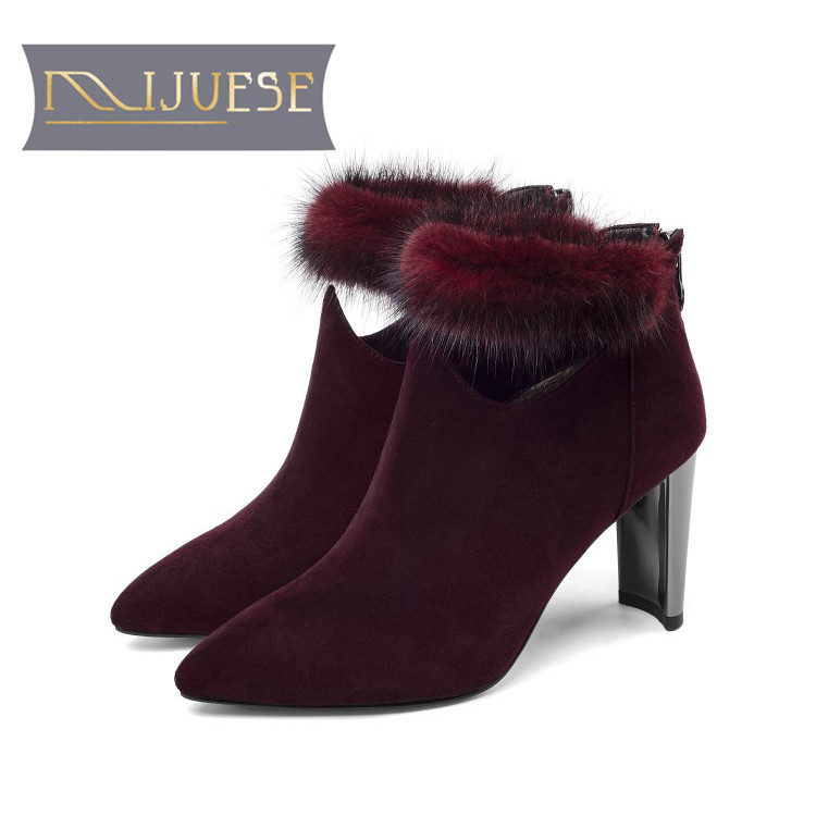 MLJUESE 2019 women ankle boots Sheepskin fur winter short plush wine red color pointed toe high