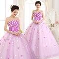 O envio gratuito de flores strapless plissado malha luz mulheres roxo vestido de baile Vestidos Quinceanera