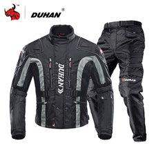 DUHAN Moto Jacket Motorcycle Clothing Set Men Motorcycle Jacket And Motorcycle Pants Suit Motocross Protection Black Red Yellow