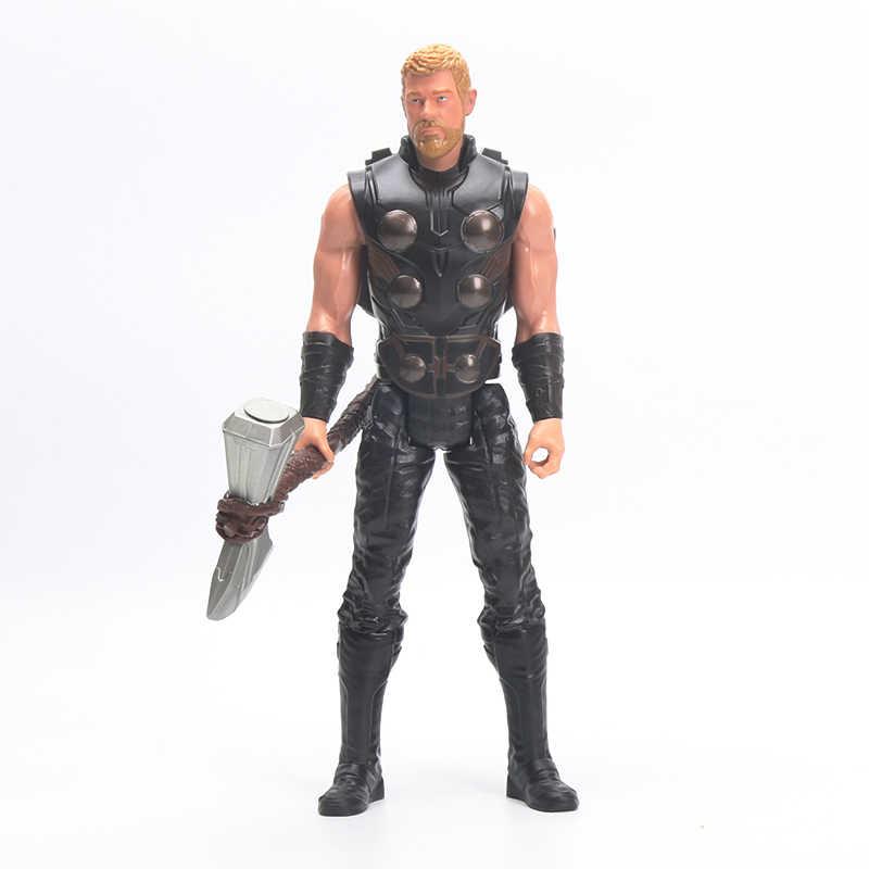 30 cm אלקטרוני מארוול נוקמי מלחמת אינסוף טיטאן גיבור כוח FX קפטן אמריקה עכביש Thor איש ברזל פעולה איור הסברו צעצועים