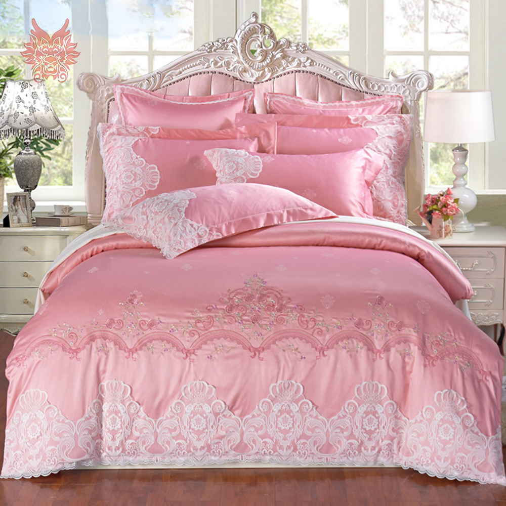 Luxury Pink With Floral Embroidery Bedding Set Lace Decor