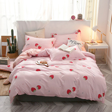 Sisher Summer Simple Fruit Bedding Bed Linen Nordic Style Cute Duvet Cover Kids Adult Single Double Queen King