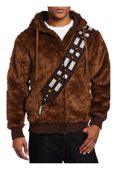 High quality Star Wars I Am Chewie Chewbacca Furry Polyester Brown Costume Men Hoodie Cosplay Jacket Coat