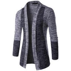 Новое поступление Для мужчин свитер в стиле пэчворк модные шаблон дизайна с длинным рукавом кардиган свитер облегающий Повседневный